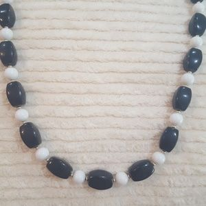 12 inch black and white vintage necklace